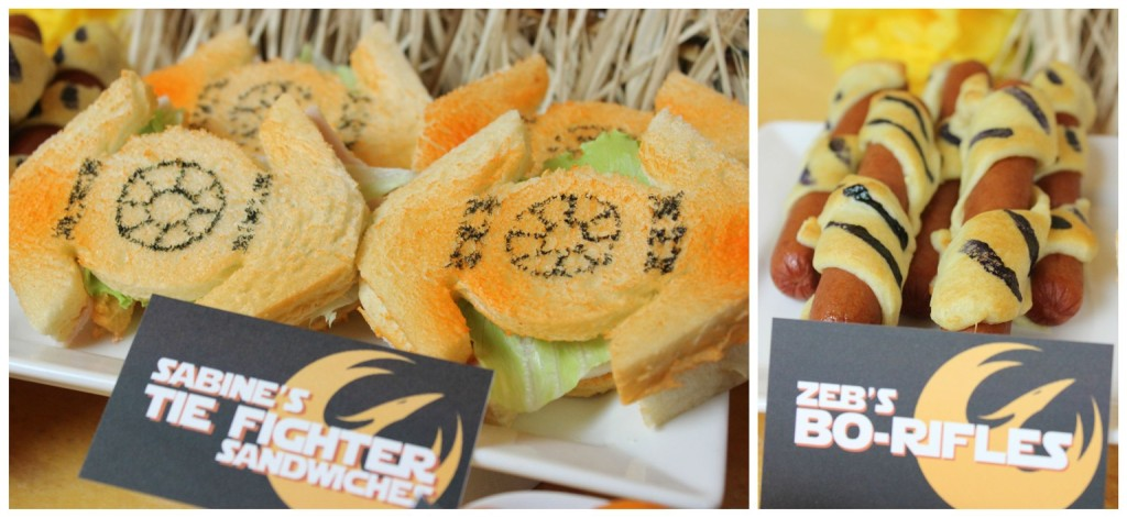 Sabine's Tie fighter Sandwiches and Zeb's bo-rifles