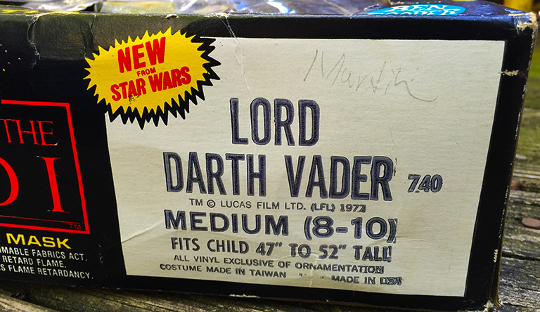 Return of the Jedi - Darth Vader costume and mask - side box view