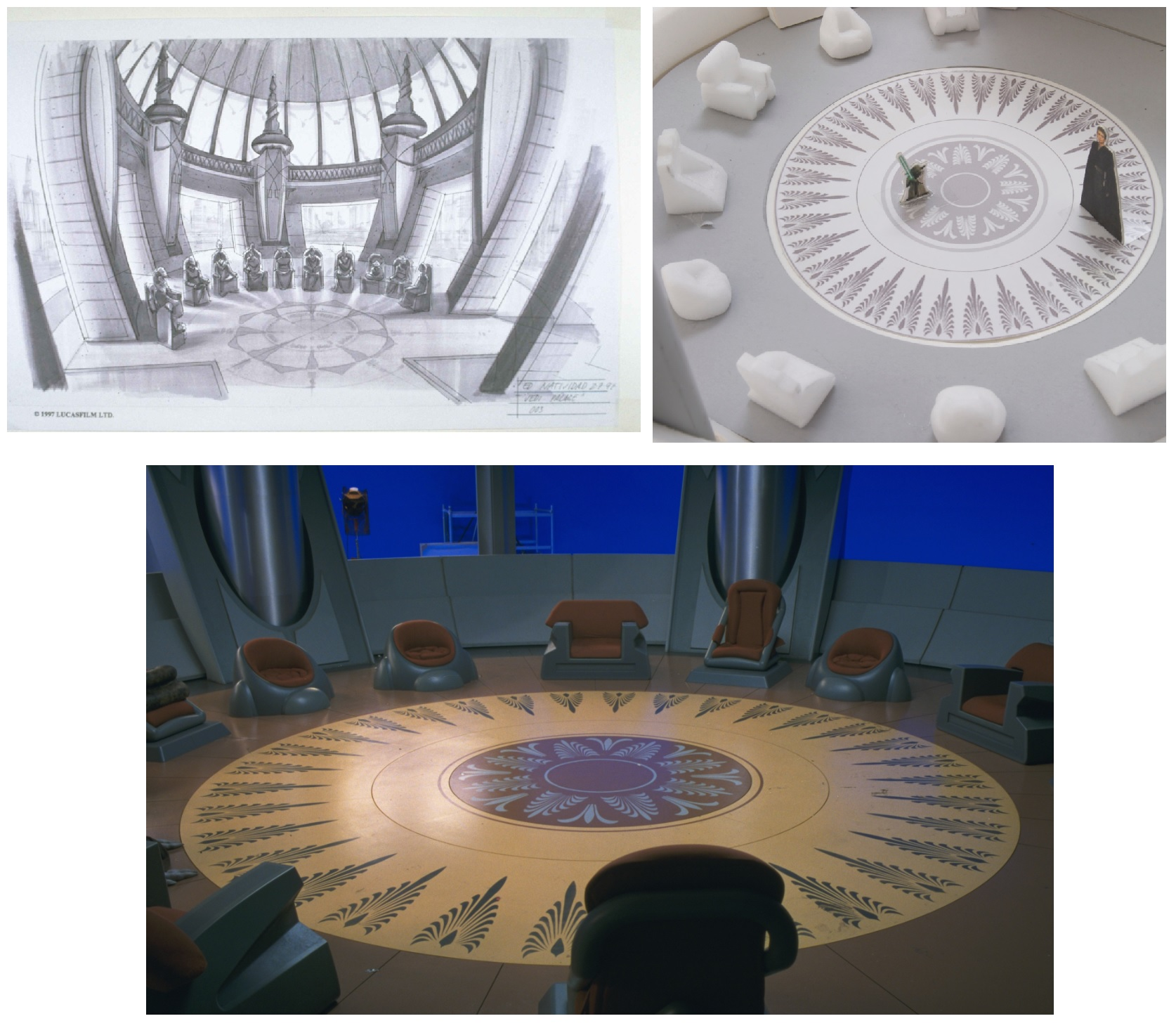 Top row: The Phantom Menace concept art & Jedi Council Chambers maquette. Bottom row: The Phantom Menace set with the old windows