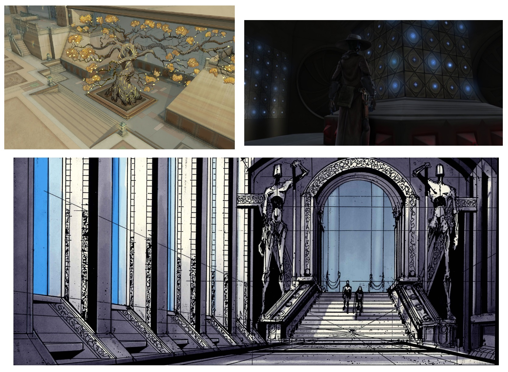 Top row: The Clone Wars locations. Bottom row: Hallway concept art for Revenge of the Sith