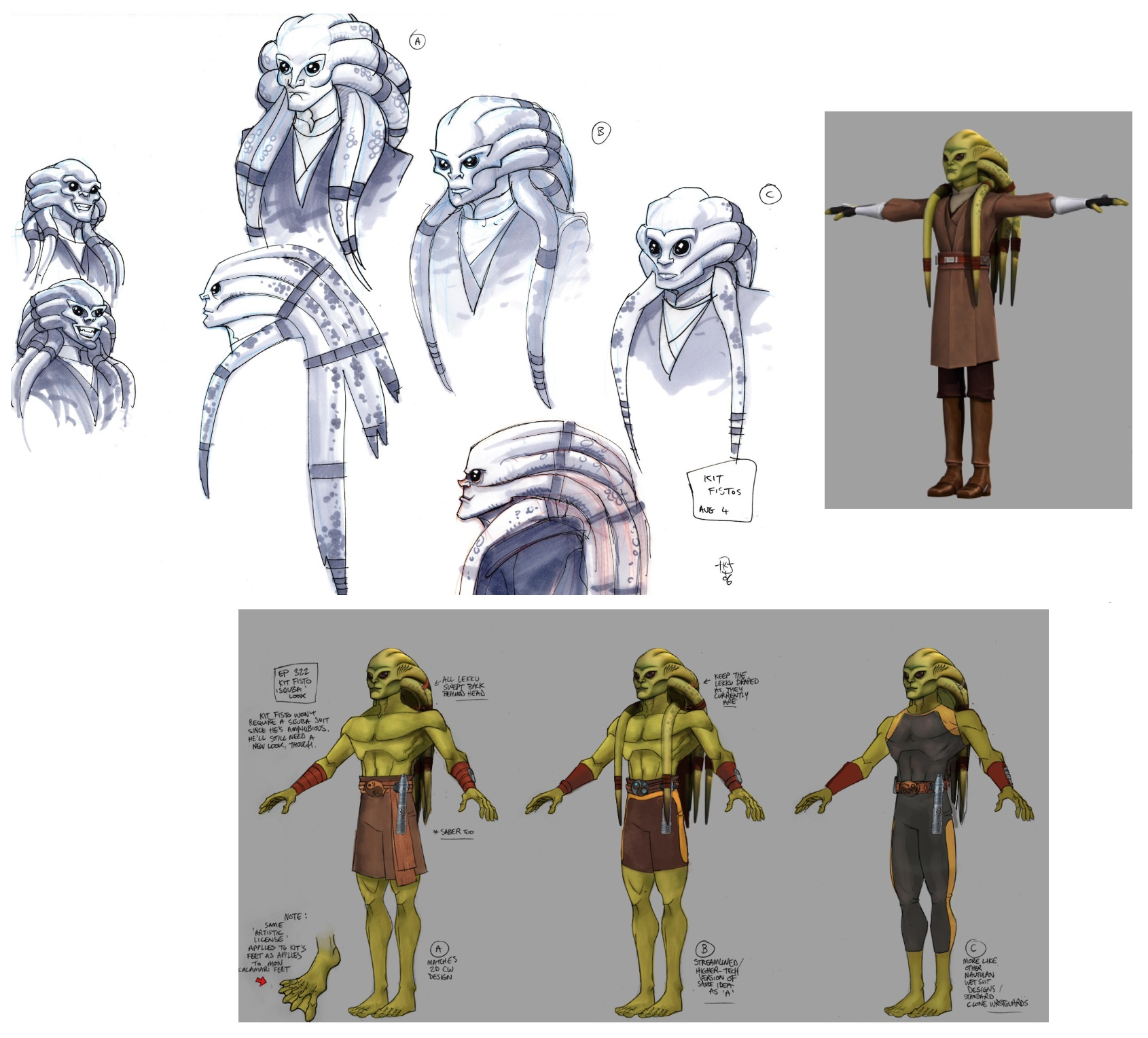 Kit Fisto Concept Sketches and Drawings for Star Wars: The Clone Wars