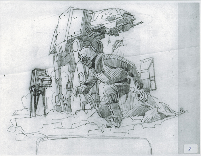 McQuarrie - Sketch for final painting of The Empire Strikes Back cover