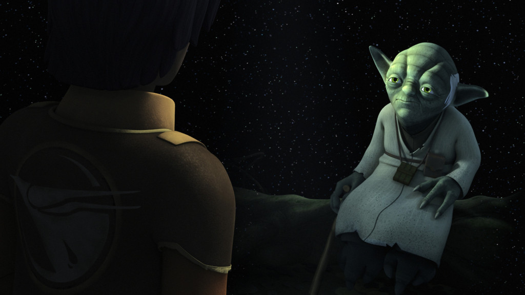 Star Wars Rebels - Ezra conversing with Yoda
