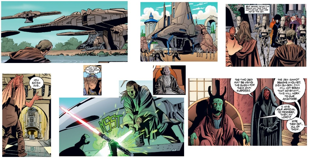 Selected images from the comic adaptation.