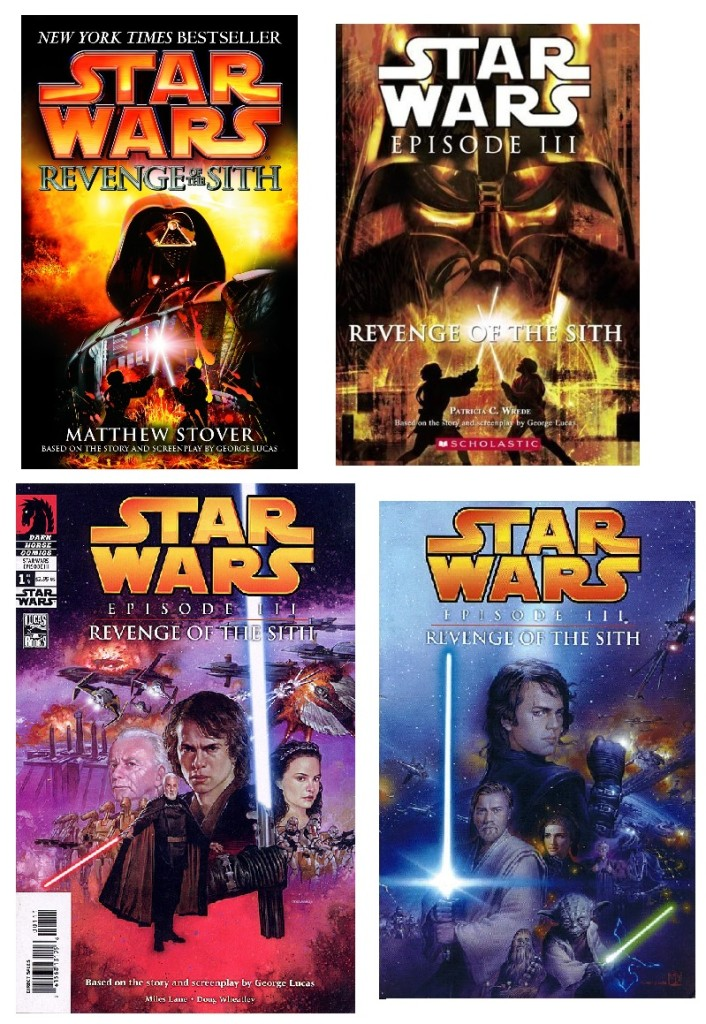 Covers of various Revenge of the Sith adaptations