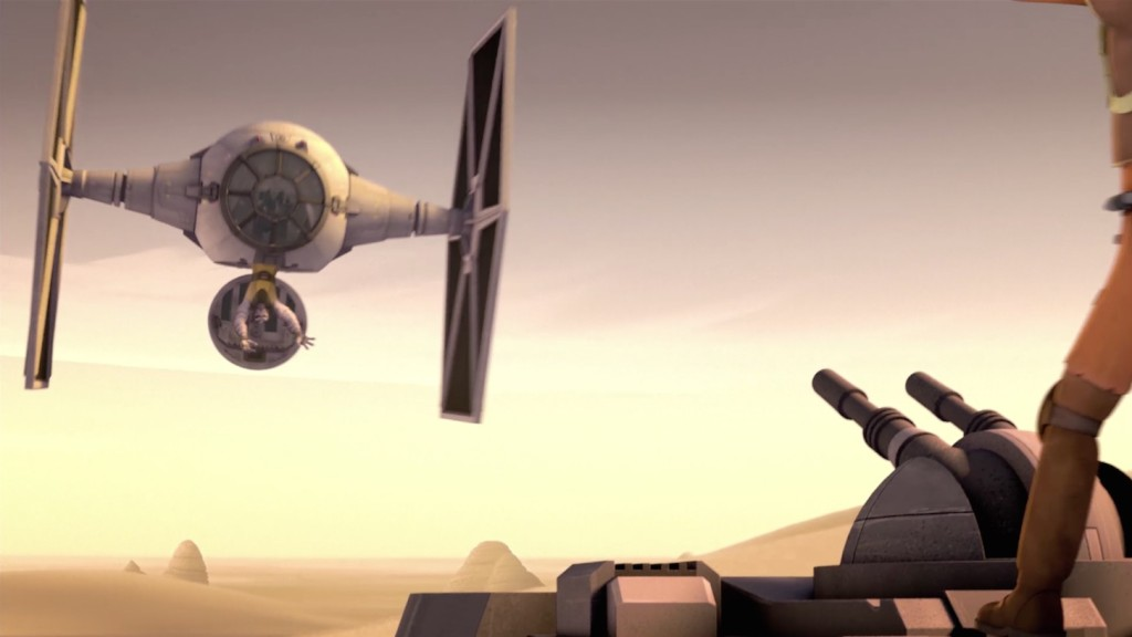 Star Wars Rebels - Zeb flying a TIE fighter with his feet