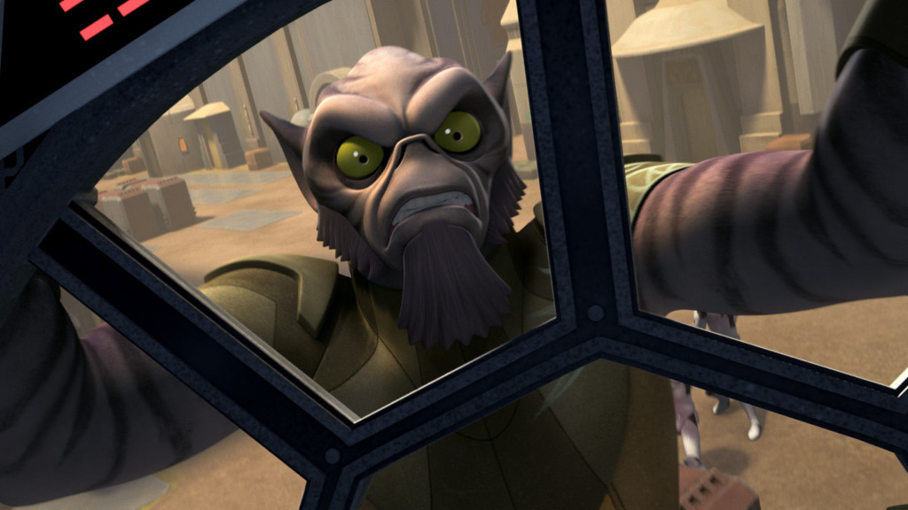 Star Wars Rebels - Zeb holding onto a TIE fighter