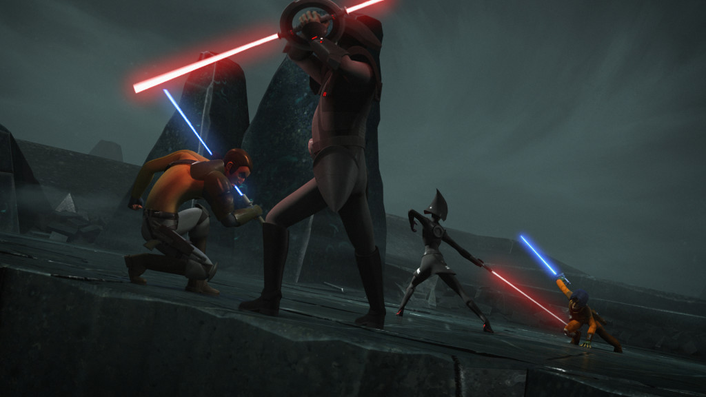 Star Wars Rebels - Kanan and Ezra fight the Inquisitors