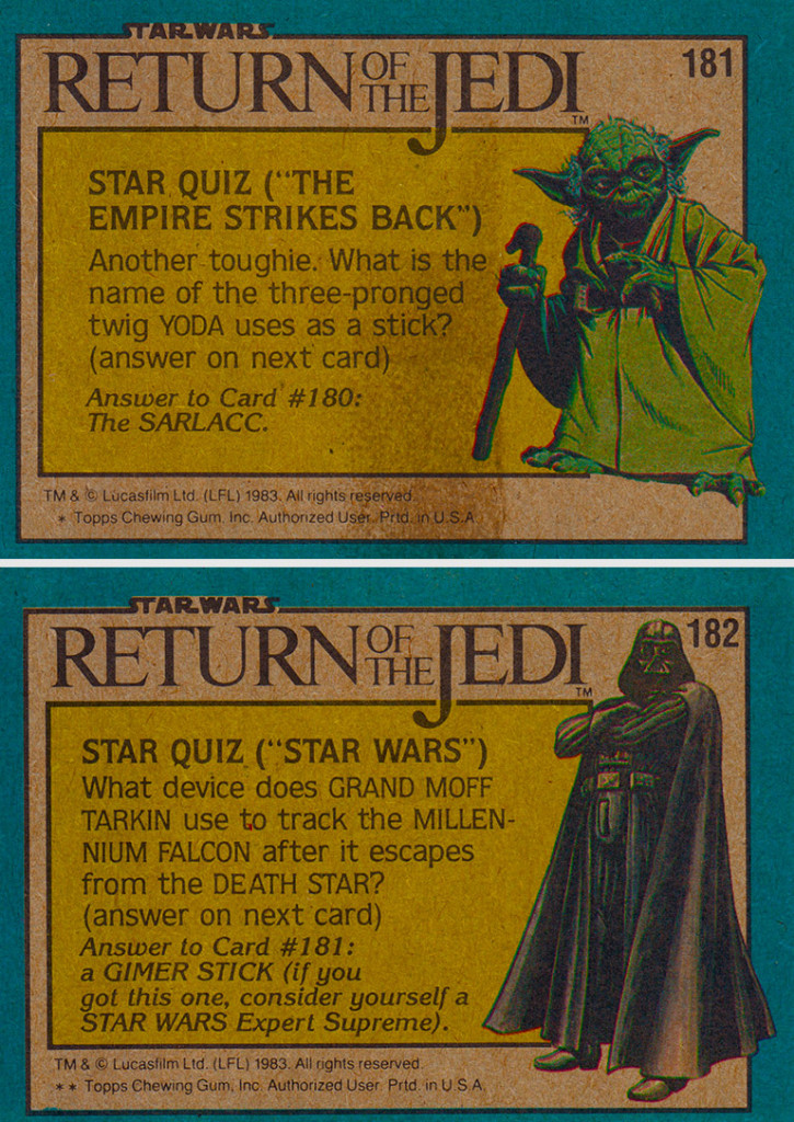 Back of the Return of the Jedi Trading Cards