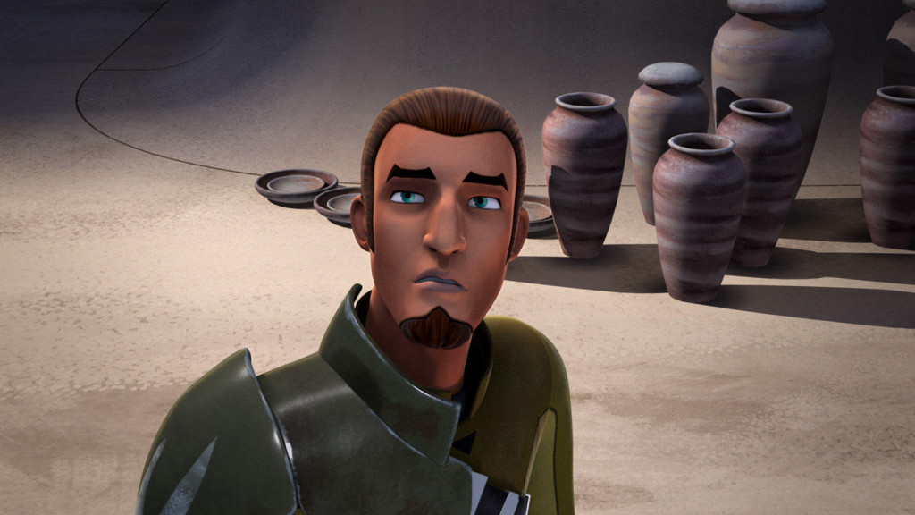 Star Wars Rebels - Kanan looking up at Ezra