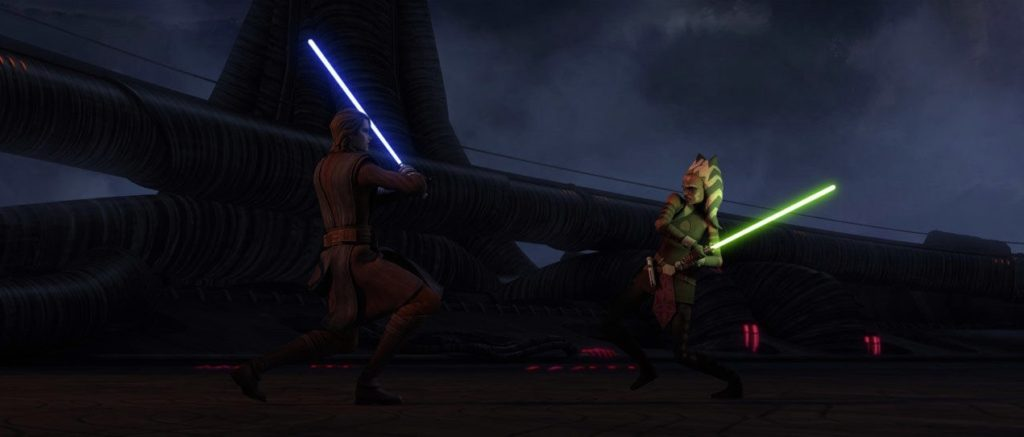 The Clone Wars - Ahsoka, under the influence of the Dark Side, fighting Anakin
