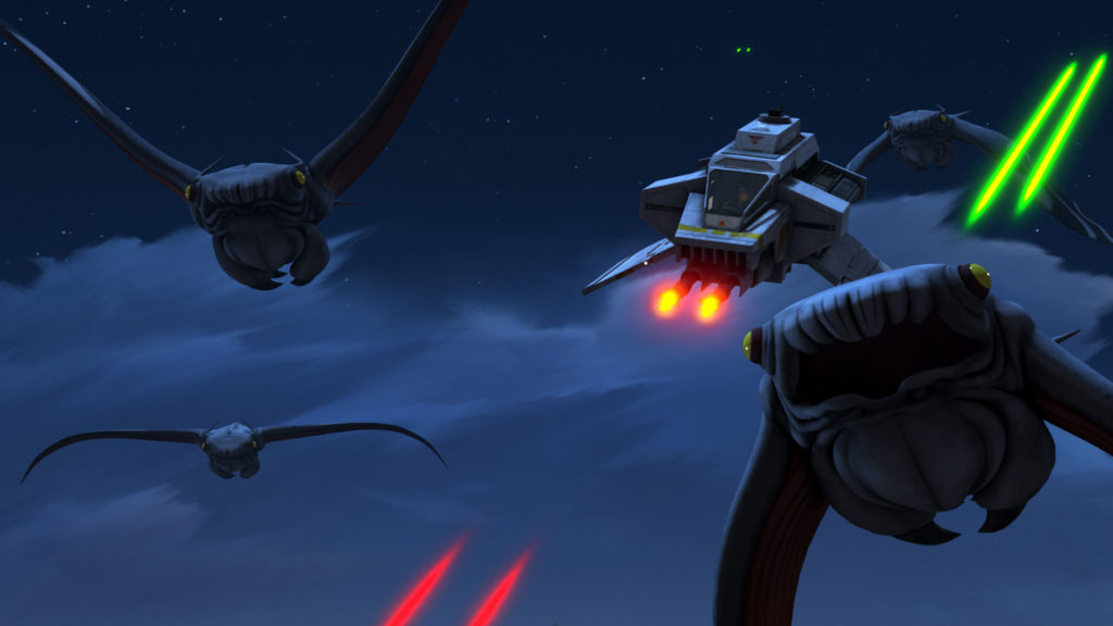 Star Wars Rebels - The Ghost and a flock of tibidees