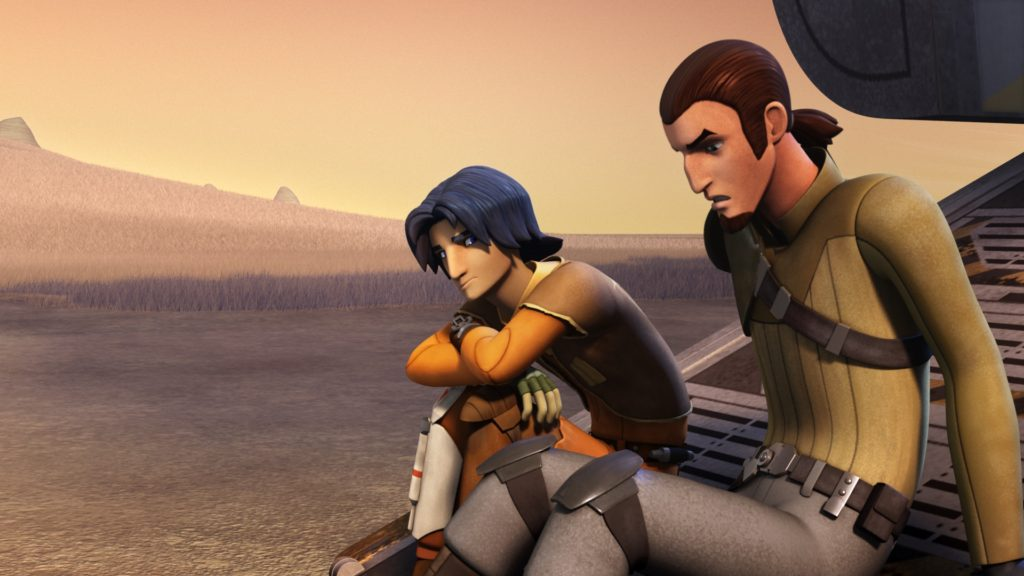 Star Wars Rebels - Ezra and Kanan sitting in front of the Ghost