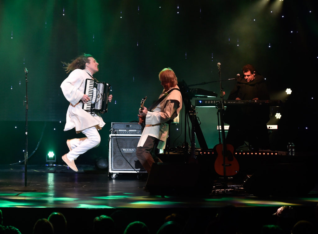 """Recording artist """"Weird Al"""" Yankovic performs in support of """"The Mandatory World Tour"""" at Planet Hollywood Resort and Casino on May 12, 2015 in Las Vegas, Nevada."""