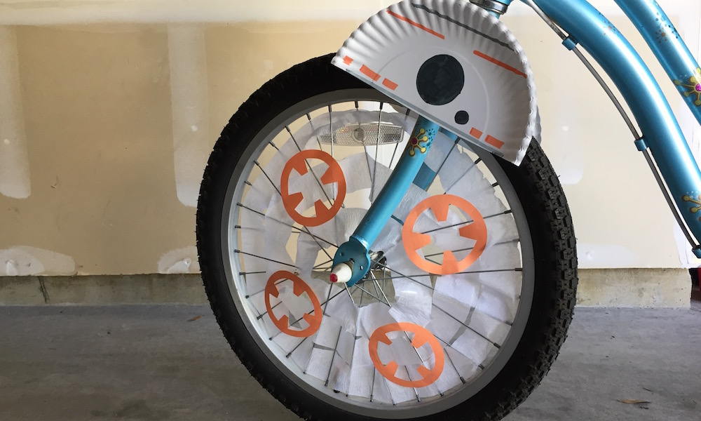 BB-8 Bike spokes with decorations