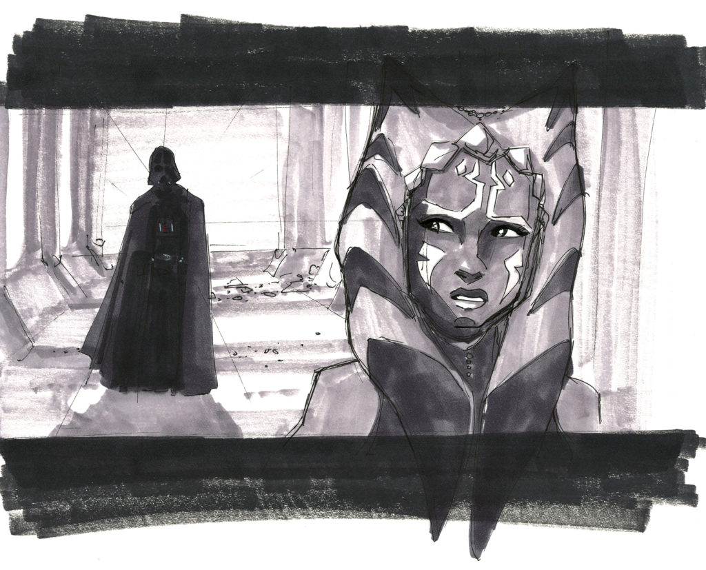 Dave Filoni's original concept sketch of the Vader and Ahsoka confrontation during production of Star Wars: The Clone Wars.