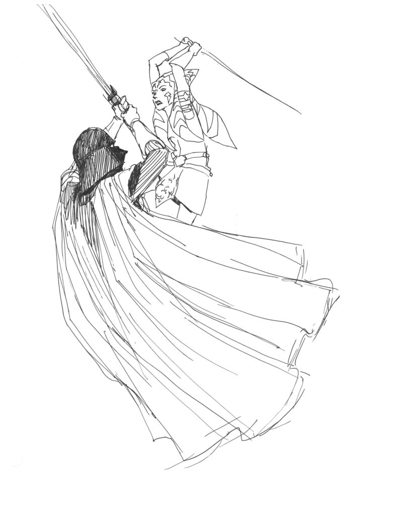 Star Wars Rebels - Ahsoka vs. Darth Vader sketch by Dave Filoni