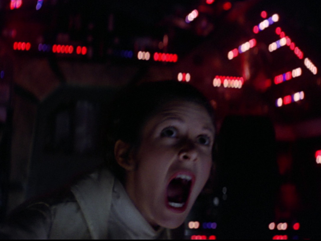 Princess Leia screams at mynocks in The Empire Strikes Back