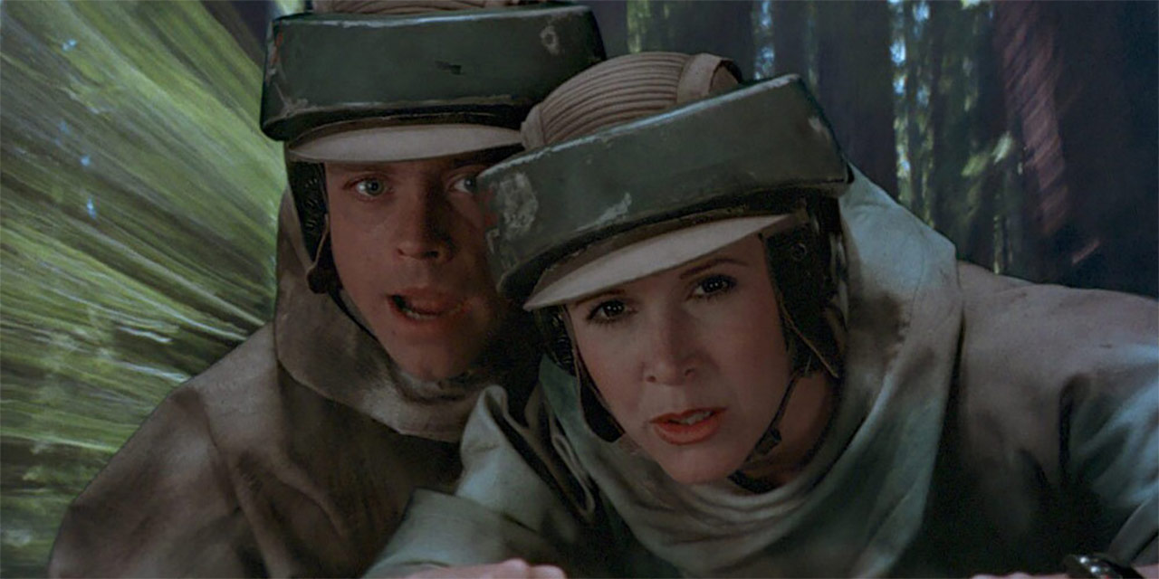 Leia and Luke being chased through Endor