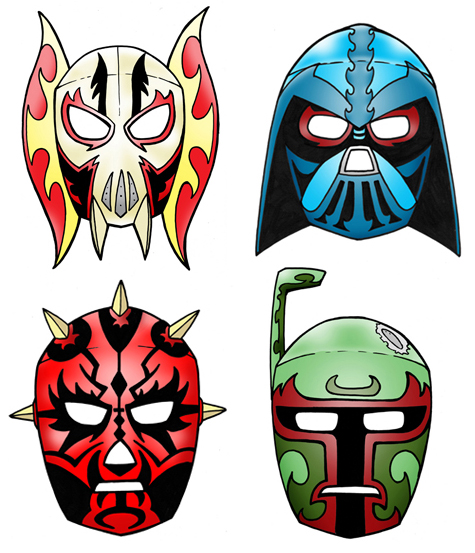 picture about Printable Star Wars Mask called Star Wars Lucha Libre Masks