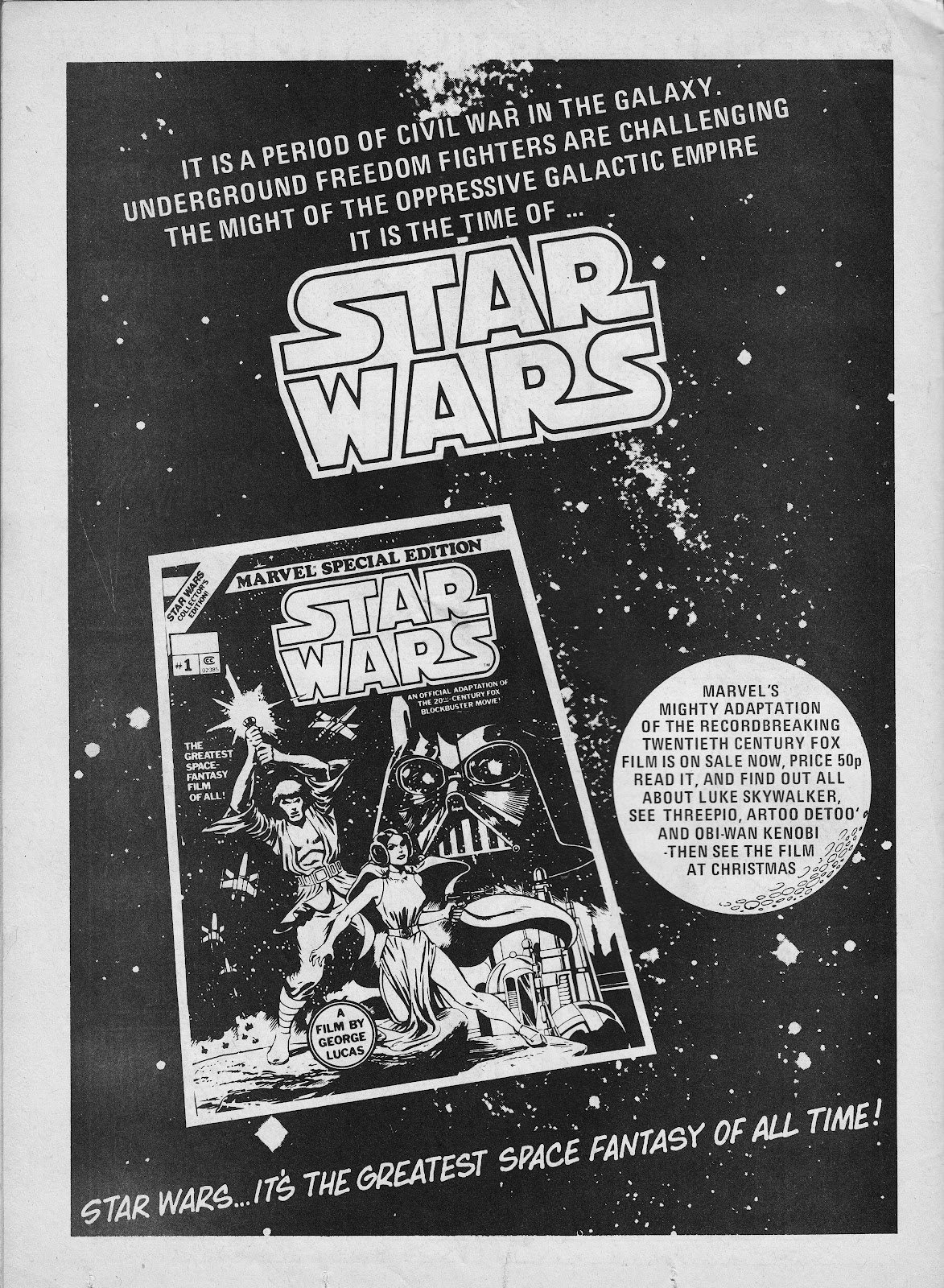 an advertisement for marvels star wars adaptation - Starwars Christmas