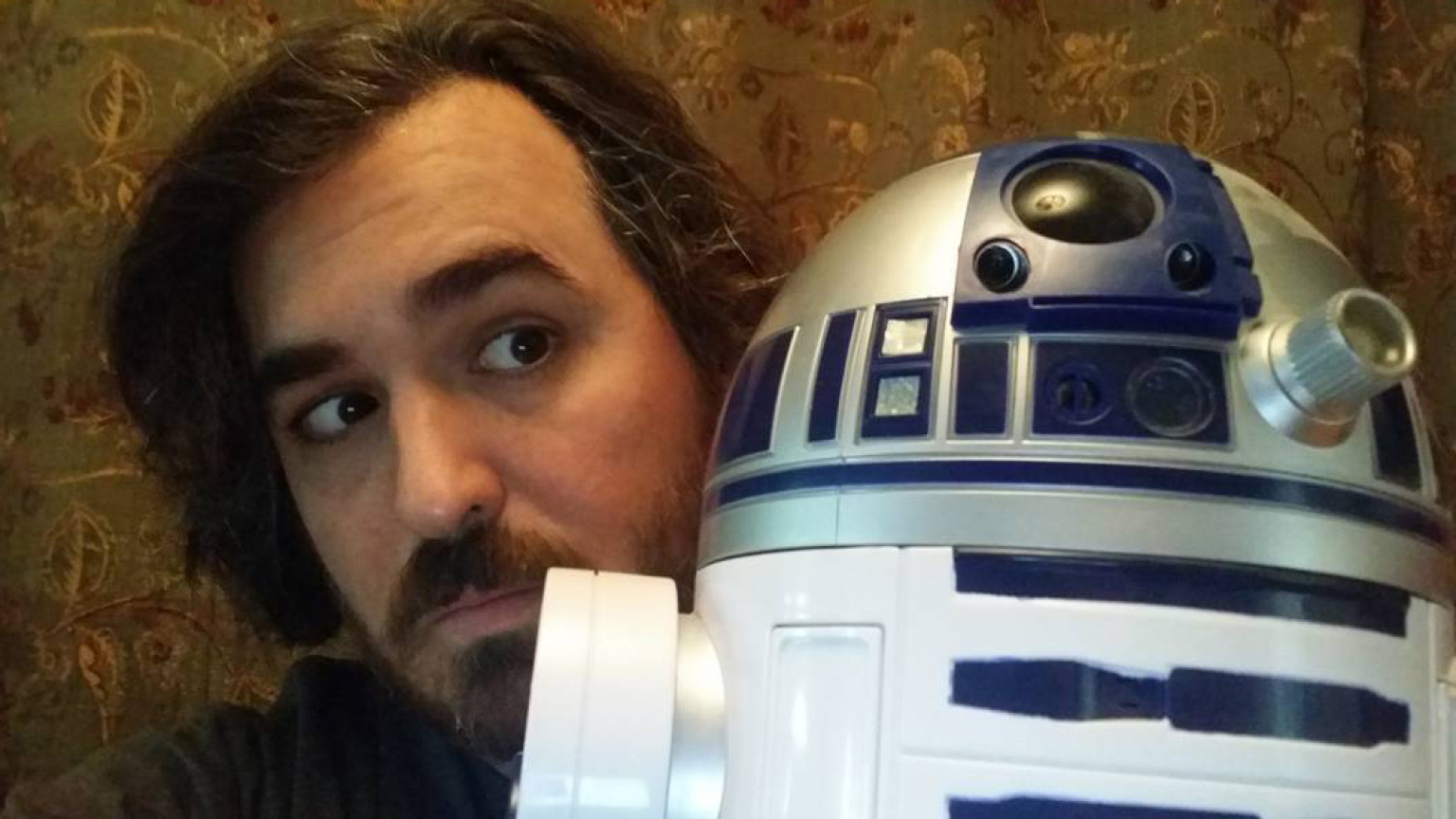 Brian Quinn of Impractical Jokers with Talking R2-D2