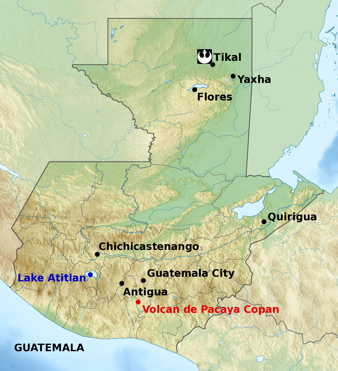 Galactic backpacking part 3 visiting real world yavin 4 starwars map of guatemala showing the shooting location and other important destinations gumiabroncs Gallery