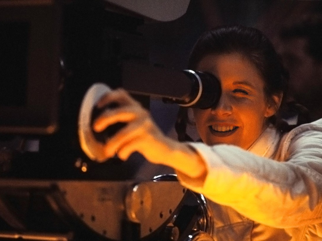 Carrie Fisher behind the camera during The Empire Strikes Back