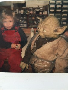 Judge me by my size: Nathan Hamill and Yoda (and a Yoda toy) in the creature shop