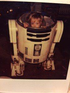 The perfect hiding place: Nathan Hamill inside R2-D2.