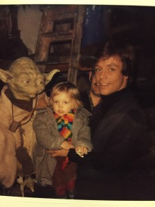 Your father he is: a curious Yoda, Nathan Hamill, Frank Oz, and Mark Hamill.