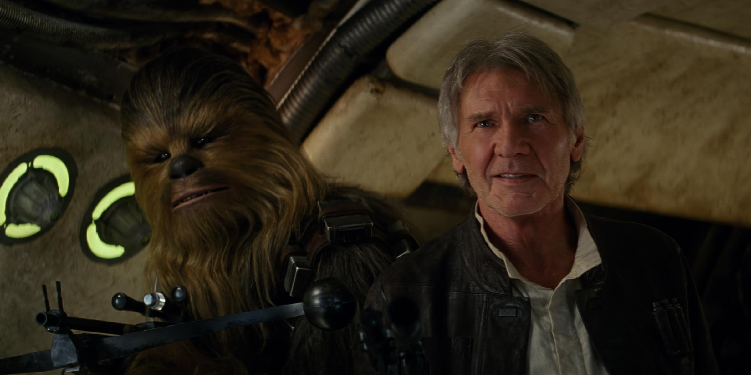 "Chewbacca and Han Solo in ""The Force Awakens"""