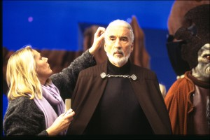 Christopher Lee as Count Dooku, readying for a scene