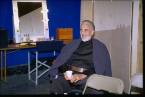 Christopher Lee relaxes on the Attack of the Clones set