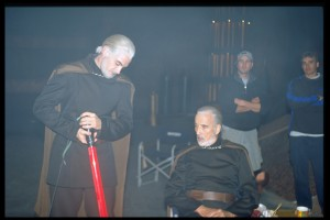 Christopher Lee with his stunt double during the filming of Attack of the Clones