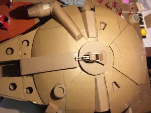 Millennium Falcon cardboard replica early stages