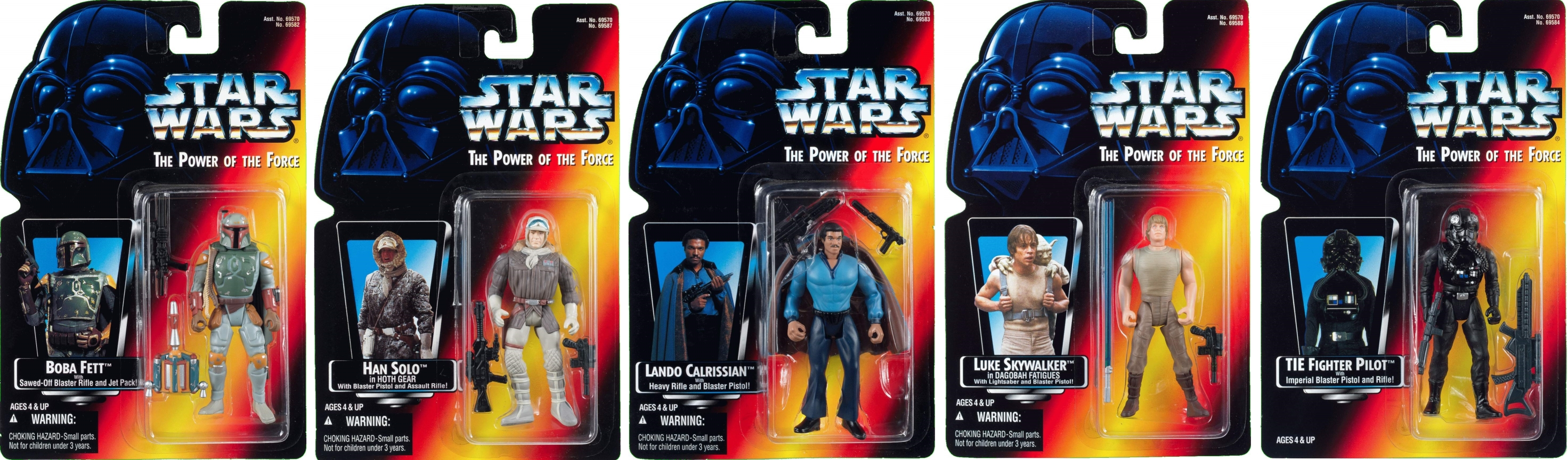 STAR WARS 1996 POWER OF THE FORCE 5 VARIOUS COMPLETE LOOSE ACTION FIGURES