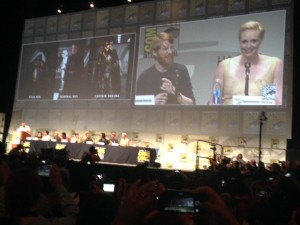 Domhnall Gleeson and Gwendoline Christie at San Diego Comic-Con 2015