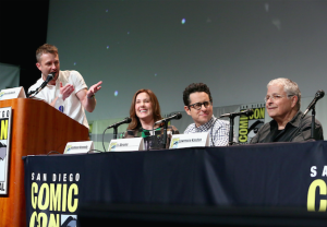 Kathleen Kennedy, J.J. Abrams, and Lawrence Kasdan at San Diego Comic-Con 2015
