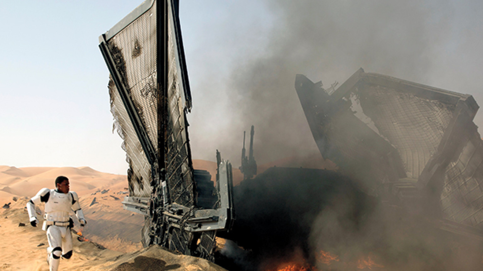 Fallen Tie fighter in The Force Awakens