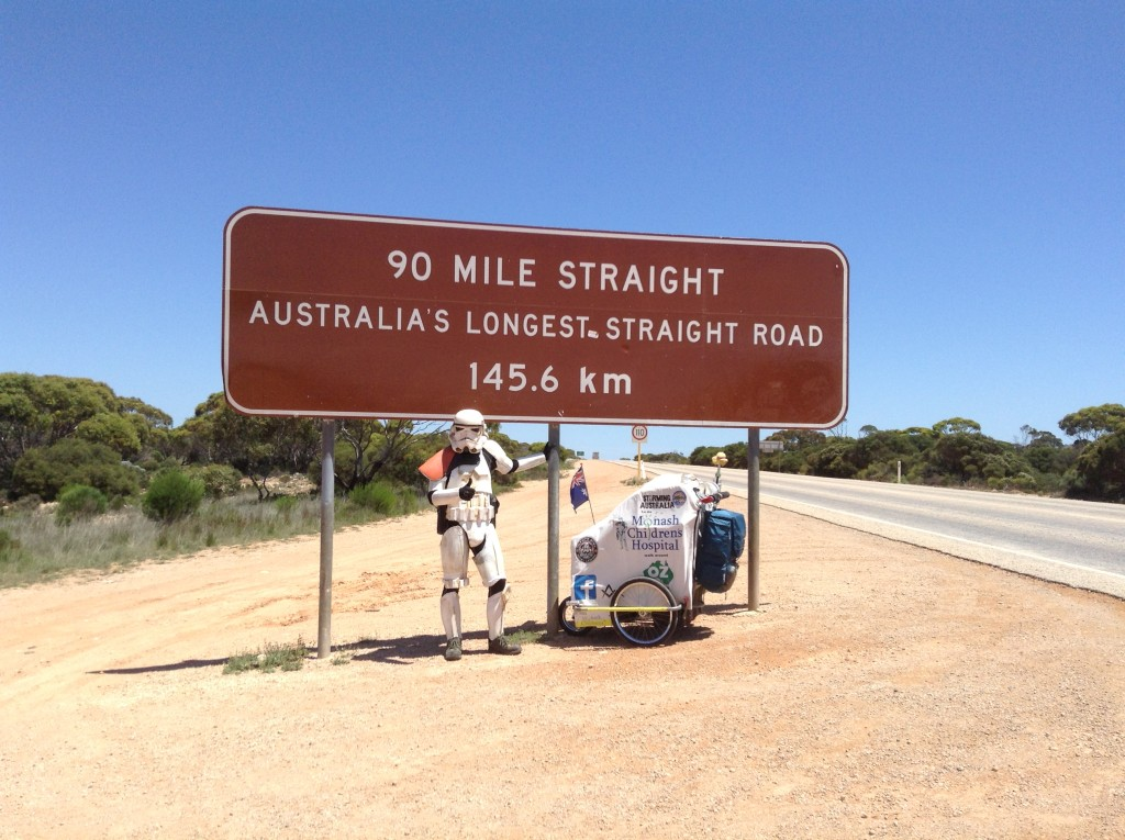 Scott Loxley at the 90-Mile Straight in stormtrooper armor.