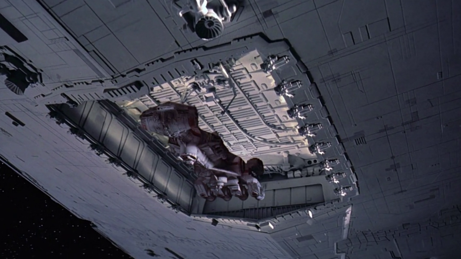 Blockade runner entering Star Destroyer