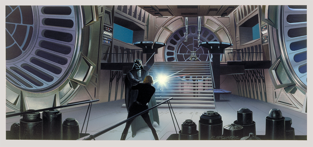 McQuarrie - Vader and Luke dueling on the Death Star