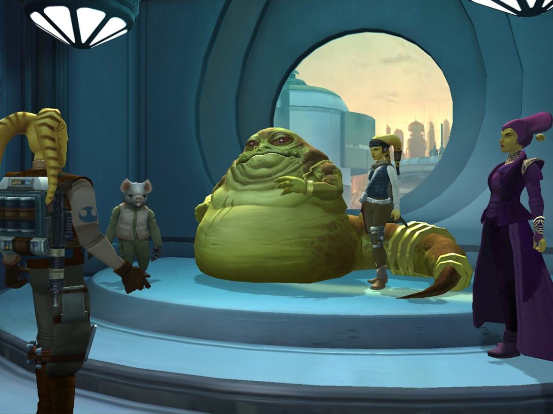 Voras the Hutt and his entourage convening in Paradise Atrium