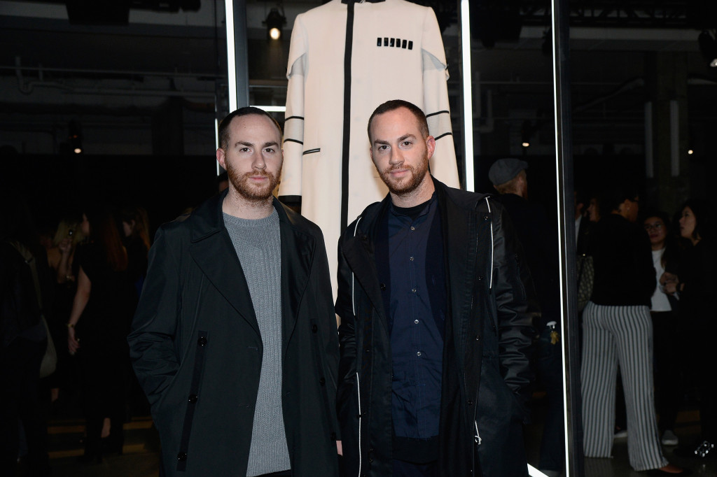 Force 4 Fashion - Designers Ariel Ovadia (L) and Shimon Ovadia pose with Ovadia & Sons Star Wars-inspired look