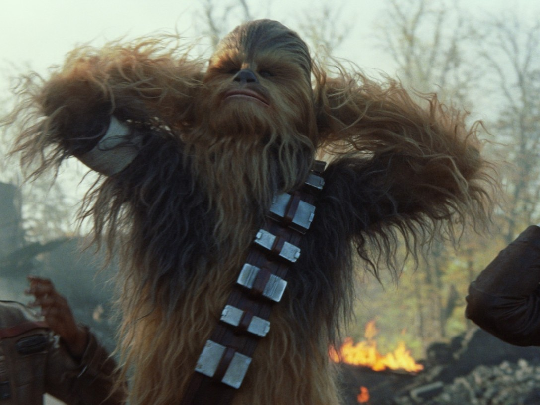 The Force Awakens - Finn, Chewbacca, and Han Solo