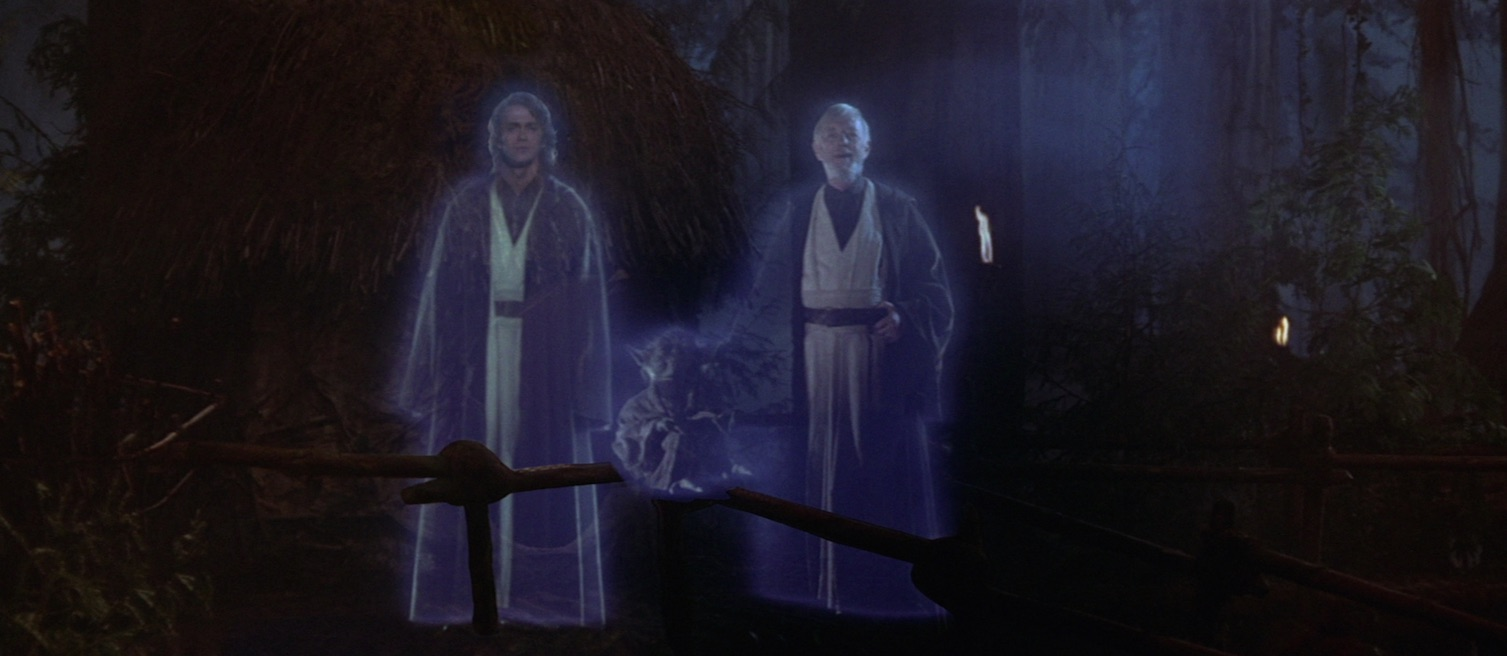 Anakin Skywalker, Yoda, and Obi-Wan Kenobi appearing as Force Ghosts