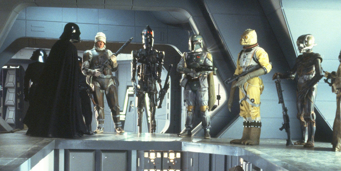 Darth Vader addressing various bounty hunters aboard his Super Star Destroyer