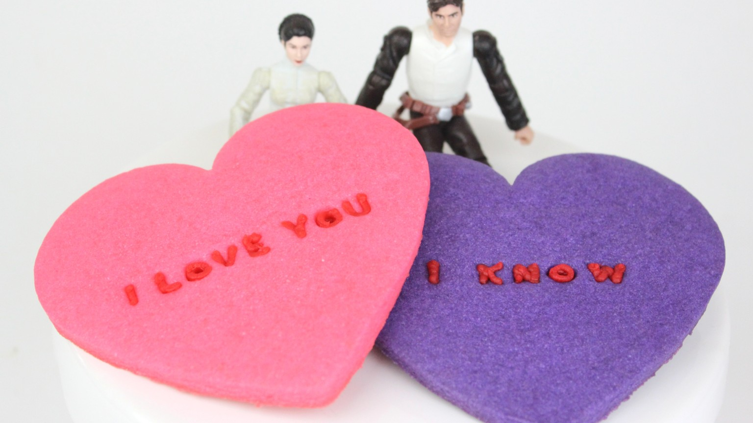 Conversation Heart Cookies with Leia and Han Figures