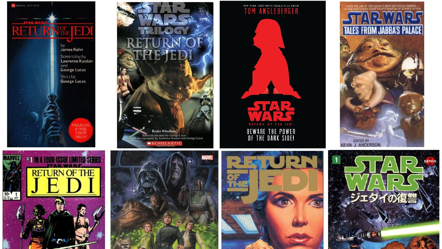 Covers of various Return Of The Jedi adaptations